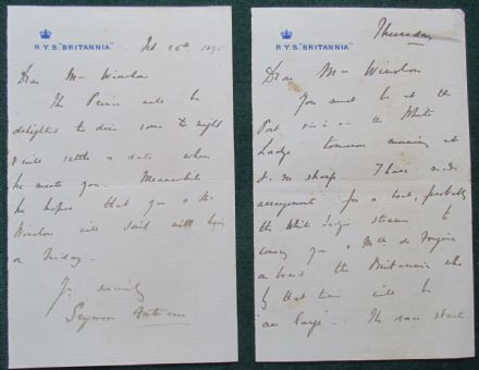 RYS Britannia King Edward VII Racing Yacht Signed Letters 1895 Captain Fortescue